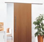 Schiebetürbeschlag San Remo Safe Close für Holztüren II 60 kg Alu F9 edelstahlfarben eloxiert / Schiene 2000 mm