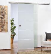 Schiebetürbeschlag San Remo Safe Close für Glastüren 80 kg Öldruckdämpfer Alu F9 edelstahlfarben eloxiert / Schiene 2000 mm