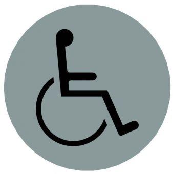Hinweiszeichen Edelstahl rund Symbol: Behinderte