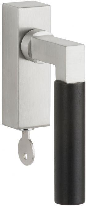 Fenstergriff Infinity Classic Edelstahl matt/Ebenholz abschließbar 42 mm