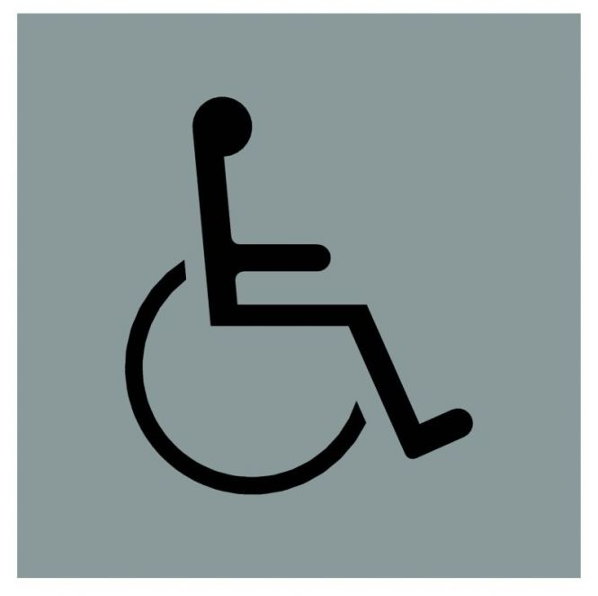 Hinweiszeichen Edelstahl eckig Symbol: Behinderte