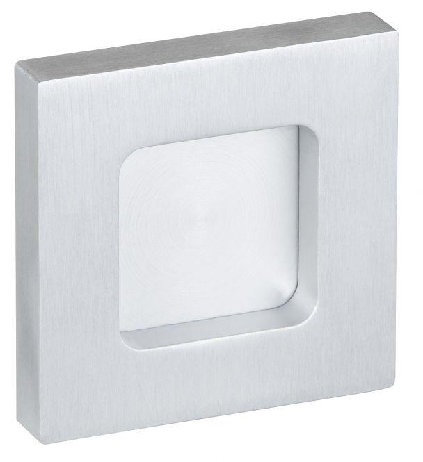 Schiebetür-Griffmuschel kantig geschlossen Aluminium silber