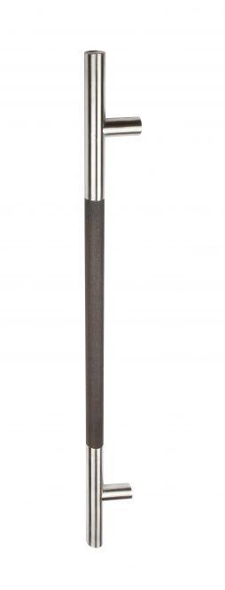 Stoßgriff Serie 8000 mit geraden Stützen V2A und Holzhandhabe Eiche dunkel 1200/1000 mm