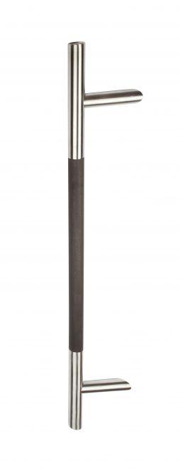 Türgriffe Edelstahl Stoßgriff 8010 mit schrägen Stützen V2A und Holzhandhabe Eiche dunkel 800/600 mm