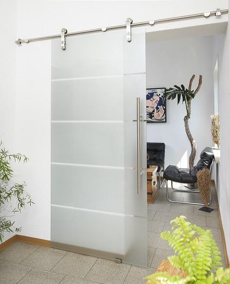 Schiebetürbeschlag Torbole für Glastüren ohne Zarge Edelstahl matt / Schiene 2400 mm