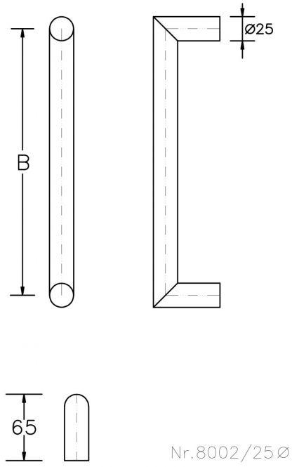 Stoßgriff Serie 8002 STG 225/200 mm