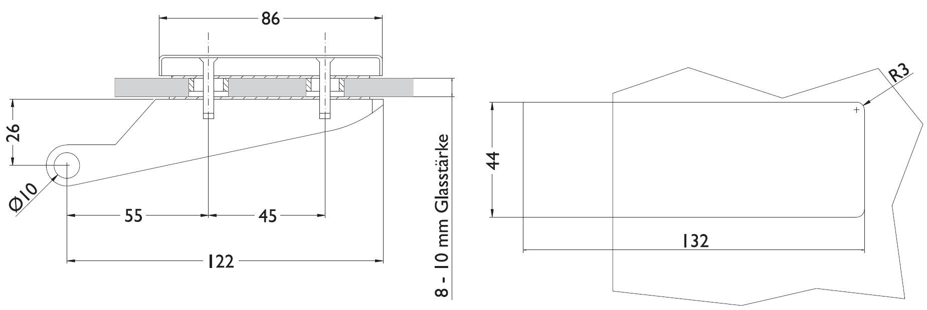 glast rband 2 teilig stil shop f r beschl ge. Black Bedroom Furniture Sets. Home Design Ideas